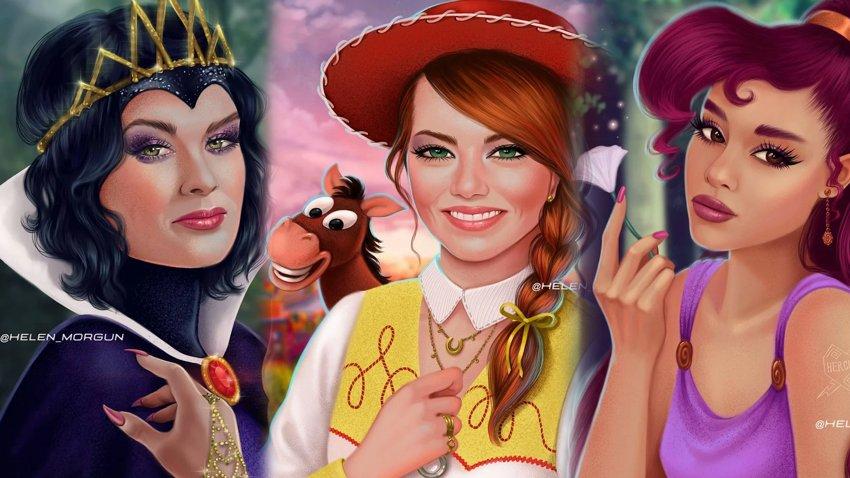 Художница показала, как выглядели бы герои Disney, если бы их играли голливудские звезды